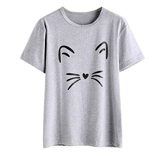 Longra T-shirt, modieus, casual, korte mouwen, voor katten, schattig, bedrukt, tops voor de zomer, korte mouwen, casual T-shirt, elegant, chique blouse XL(Asia XL=EU L) grijs.