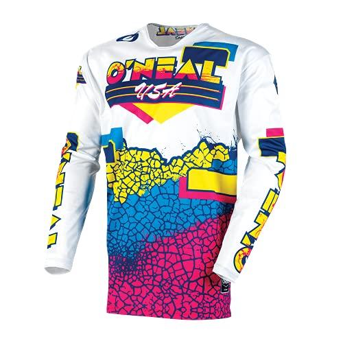 O\'NEAL | Motocross-Shirt Langarm | MX Enduro DH FR Downhill Freeride | Athletische Passform, Schnell trocknend, Bündchenlose Ärmel | Mayhem Jersey Crackle 91 | Erwachsene | gelb weiß blau | Größe M