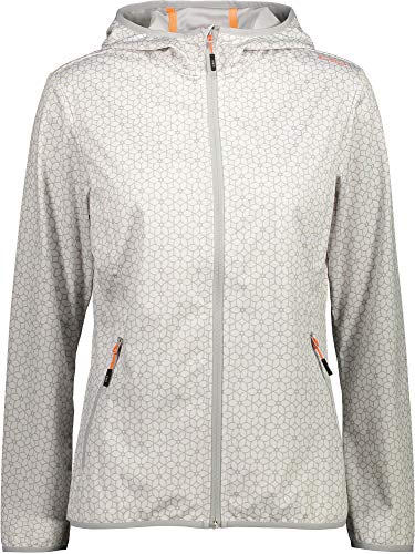 CMP Woman Fix Hood Jacket Light Softshell 31A5456 Größe 38 Bianco-Stone 02XG