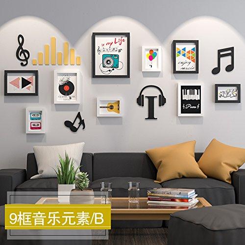 HJKY Fotolijst met 9 boxen om foto's te maken en te combineren met de muur, met 9 muziekelementen, foto's en foto's