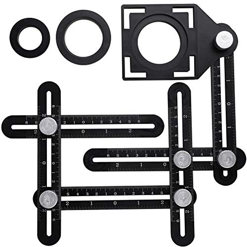 RZJZGZ Multi-Angle Measuring Ruler Template Tool Aluminum Alloy Metal Angle Finder Tool Layout Tools Woodworking Ruler (Six Sides)