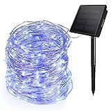 Ankway luci Stringa Solare 200 LED 8 Modi, Aggiornate Luci di Filo di Rame a 3 Fili, Lunghezza...
