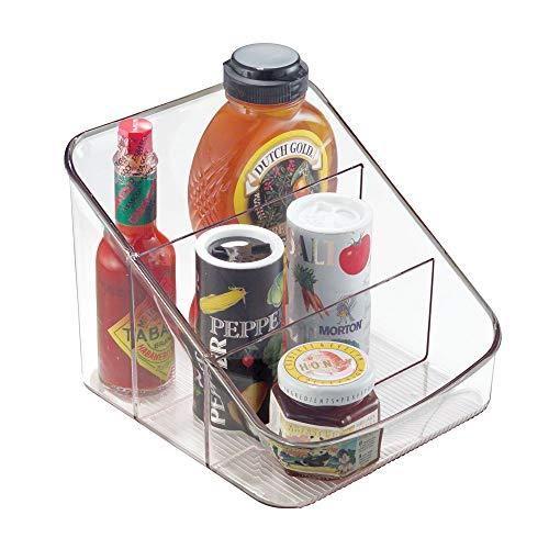 iDesign Organizer cucina, Grande contenitore cucina in plastica con 3 scomparti, Scatola cucina salvafreschezza ideale per confezioni e spezie, trasparente