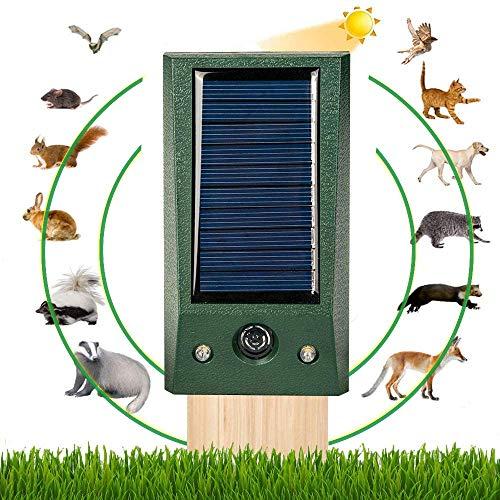 Tiervertreiber Ultraschall Solar, Wetterfest Garten Katzenschreck, Bewegungssensor Und Starkes Blinklicht Vogelvertreiber für Eichhörnchen Hund, Ratten, Tauben