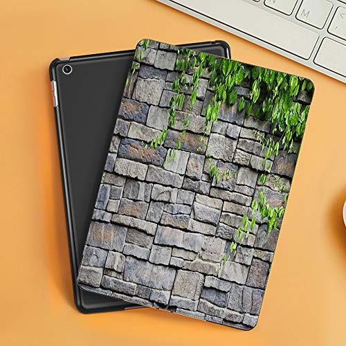 Case for iPad Air 10.2(2019/2018),Brick Wall Country Wallpaper Rustic White Stone Wall Green Garden Plant Leaves,Cover with Auto Sleep Wake Feature, Slim Lightweight Stand Protective Case
