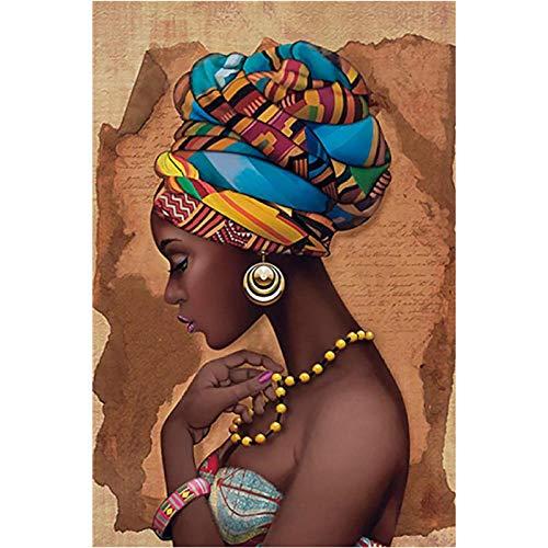 Jwqing Afrika Leinwand Malerei Wandkunst Gemälde Bilder Poster und Drucke Schwarze Frau Auf Leinwand Wohnkultur Wandbilder Wohnzimmer (50x70cm No Frame)