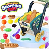 LEAMEERY Toy Shopping Cart for Toddlers, Kids Shopping Cart Include 33 Pieces Fruits, Vegetables and Bread, 25.5 inches x15 inches x 21 inches Supermarket Shopping Cart Toy for Boys and Girls