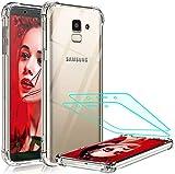 LeYi Coque pour Samsung J6 2018 Transparent [2 Pcs D'écran Verre Trempé], Technologie Coussins...