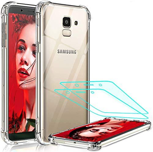 LeYi für Samsung Galaxy J6 2018 Hülle mit Panzerglas Schutzfolie(2 Stück), Neu Transparent Cover PC Air Cushion Bumper Schutzhülle Handy Hüllen für Case Samsung Galaxy J6 2018 Handyhülle Crystal Clear
