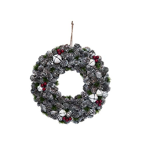 Orchid & Ivy 13-Inch Rustic Snowy Pinecone Wreath with Bells and Berries – Winter Holiday Decoration – Country Christmas Home Decor
