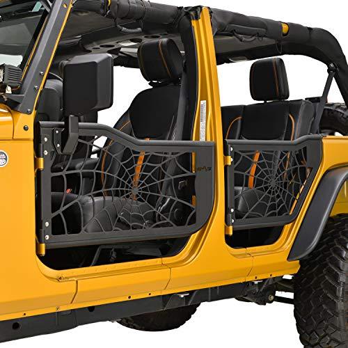 EAG Tubular Spyder Web Door with Side View Mirror Fit for 07-18 Wrangler JK 4 Door Only