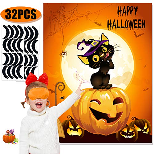 Funnlot Halloween Party Games for Kids Pin The Tails on The Witch Cat Game Halloween Party Games Activities Halloween Pin The Tail Game