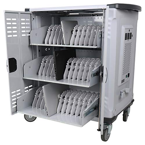 """Pearington Premium Fully Assembled Heavy-Duty Smart Charge 42 Device Mobile Storage Cart w/3 External Outlets, 4 Point High Security, Up to 15.6"""" Screen Size, 3 Pull-Out Shelves, Removable Dividers"""