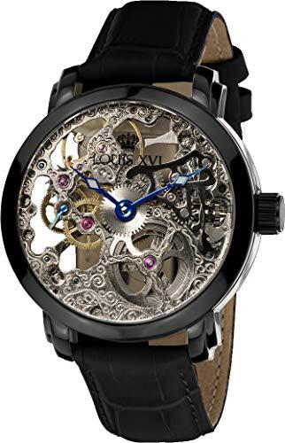 LOUIS XVI Versailles - Reloj de pulsera para hombre, mecanismo automático, esqueleto analógico, piel auténtica, color negro 335
