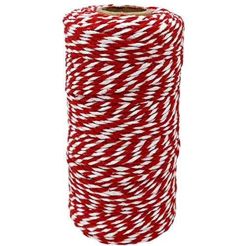 Cotton Twine Red and White Baker String 2mm Thick 328 Feet