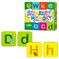 26組の両面消せる小文字と大文字マッチングゲーム、アルファベットフラッシュカード(各サイズ2.2インチ×2.2インチ)。