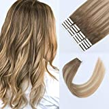 Sixstarhair Seamless Tape in Hair Extensions Made Of 100% Human Hair Beautiful Balayage Ash Brown Fading to Dirty Blonde Highlight Ash blonde Tape In Hair Extensions[B8-18-60 16 Inch]