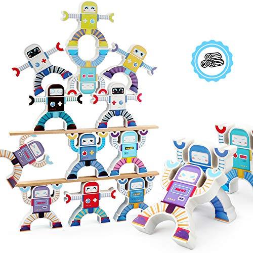 JIUBAR Wooden Stacking Games, Hercules Acrobatic Troupe Interlock Toys, Balancing Blocks Games Toddler Educational Toys for 3 4 5 6 Years Old Kids Infants Adults 12 Pieces (Hercules)