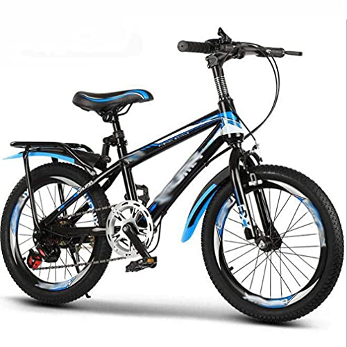 HUAQINEI Bicycle variable speed middle-aged child 18 inch 20 inch 22 inch bicycle 7-8-9-10-12-15 year old mountain bike bicycle,Blue,20