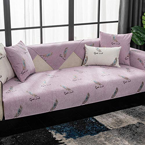 HXTSWGS Four Seasons Universal Sofa Cover Couch Cover Slipcover Seat Cushion High-Grade Non-Slip Sofa Towel For Living Room-Pink Purple_W110xL210cm