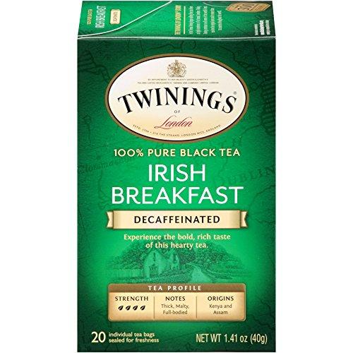 Twinings of London Decaffeinated Irish Breakfast Tea, 20 Count (Pack of 6)