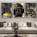 SSHABC Nordic Gold Black Fashion Perfume Bottle Canvas Painting Vestidor Arte de la Pared Posters Impresiones Cuadros de la Pared Decoración del hogar / 45x65cmx3 / Sin Marco