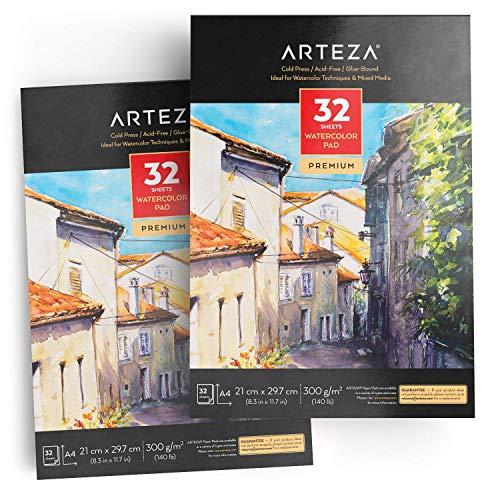 Arteza Aquarellblock, A4 210x297 mm, 2er-Pack mit jeweils 32 Blättern, klebegebundenes säurefreies 300 g/m² Aquarellpapier im EU-Format, für Aquarelltechniken und Mischtechnik