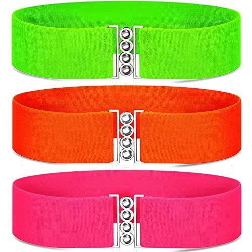 3 Pieces 80s Neon Belt Stretch Wide Waistband Elastic Belt Retro Vertical Clasp Buckle Belts for Women Girls