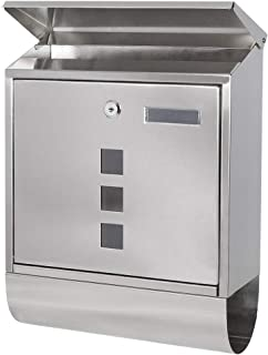 Stainless Steel Mailboxes with Key Lock, Wall Mounted Large Capacity Mailbox with Newspaper Compartment, Silver, 5