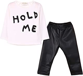 Infant 2 Piece Black Leather Pants + White Tunic T Shirt Letter Printed