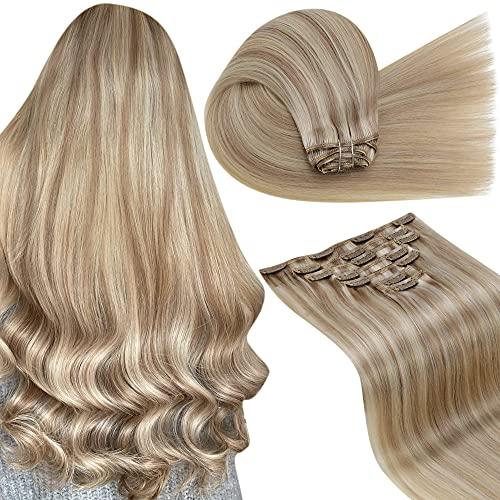 LaaVoo 7pcs/120g Extension a Clip Cheveux Blond Highlight - Blonde Cendrée Mixte Bleach Blonde - Clip Extension Cheveux Blond Cheveux Humain Clip Doub