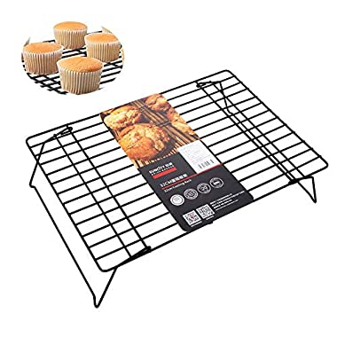Cookie Cooling Racks Wire for Baking Stackable 13x9 Carbon Steel Black Oven Safe Large Tier