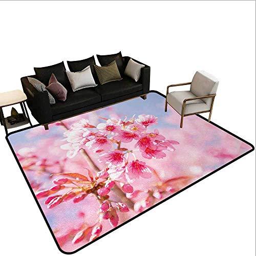 MsShe Grote tapijt Bloemen,Pattern met vogels harten bomen en bloemen zomerse tuin vreugdevolle leuke cartoon,Blauwgroen wit rood
