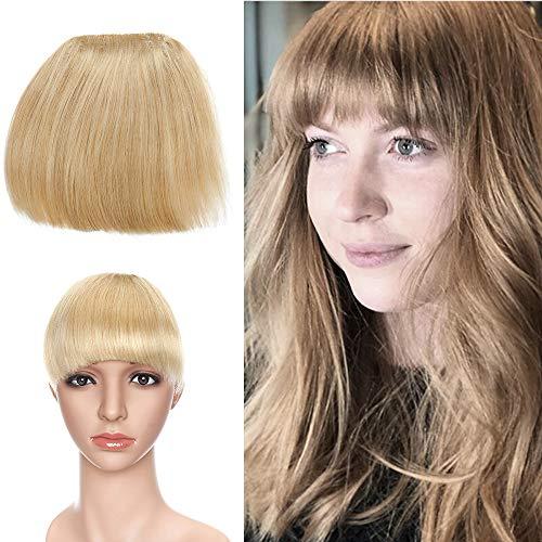 Extensions Echthaar Clip in Pony Natürlich Weich Haarteil Stirnfranse Haarverlängerung 15 * 15cm 1 Piece 23g 24# Blond