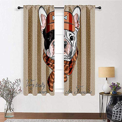 GugeABC Blackout Curtains for Bedroom 96 inch Length, Vintage Decor Drapes 84' x 96' - Funny Hipster French Bulldog with Cap and Lined Scarf Punk Animal Humor Graphic Art, Ecru Pink Brown