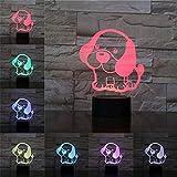 Baby Saluki Hund 3D Tischlampe Kinder Spielzeug Geschenk Illusion Nachtlicht LED-Lampe Mehrfarbige Atmosphäre Nachttisch Lady n Kid Toy