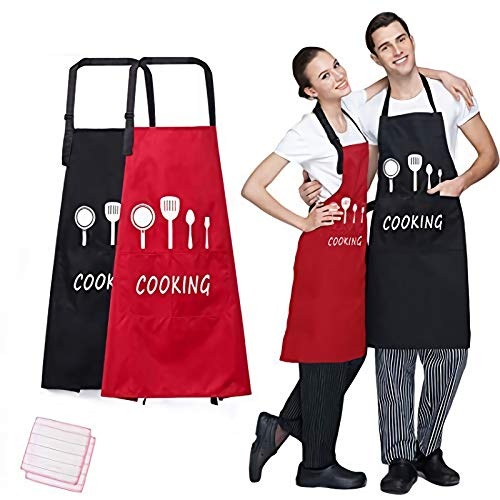 Meile 2 Pack Waterproof Adjustable Bib Apron 2 Pockets for Women and Men Chef Cooking Kitchen Aprons, BBQ Drawing, Waitress Apron, with 2 Kitchen Cleaning Cloth, Black + Red