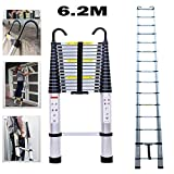 6.2m/20.34 ft Aluminum Extension Telescopic Ladder wiht Roof Hook Multi-Purpose Straight Telescoping Ladders