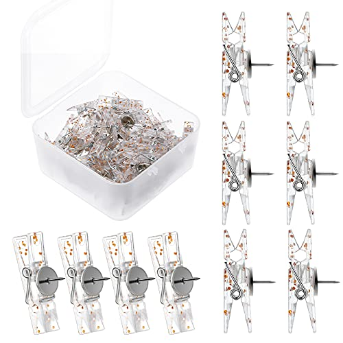 50 Pieces Push Pin Clips Plastic Push Pins for Cork Board Push Pins Tacks Mini Photo Clips Decorative Pins Thumbtack Paper Clips Pushpins for Bulletin Board (Clear with Rose Gold Glitter)