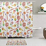 Einzigartiger Duschvorhang, Eiscreme, Süßigkeiten, Lollipop, Clementine, süße Obst, Geburtstag, Feierlichkeit, Badezimmer, Duschvorhang, 72 x 72 cm