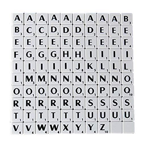 Trimming Shop Alphabet-Steine 100 Stück 1,9 cm  schwarz mit weißen Buchstaben – perfekt als Ersatz, für Kunst und Handwerk, Brettspiele, Scrapbooking, Rechtschreibung, Wandkunst, Puzzle weiß