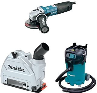 Makita GA5042C 5-Inch SJS II High-Power Angle Grinder, 196845-3 Dust Extraction Tuck Point Guard, VC4710 12 Gallon Xtract Vac Wet/Dry Dust Extractor/Vacuum