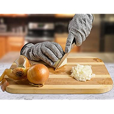 Cut Resistant Gloves - Super High Performance - Knife Scissors Hands & Body Level 5 Protection - Kitchen Work Safety Hand Protector - Lightweight, Durable, Comfortable - Men, Women -Indoor Outdoor Use