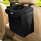TAOPE Cubo de basura para coche, 15 l, impermeable, plegable, con tapa y bolsillo de red lateral para coche/SUV/camión/minivan/auto