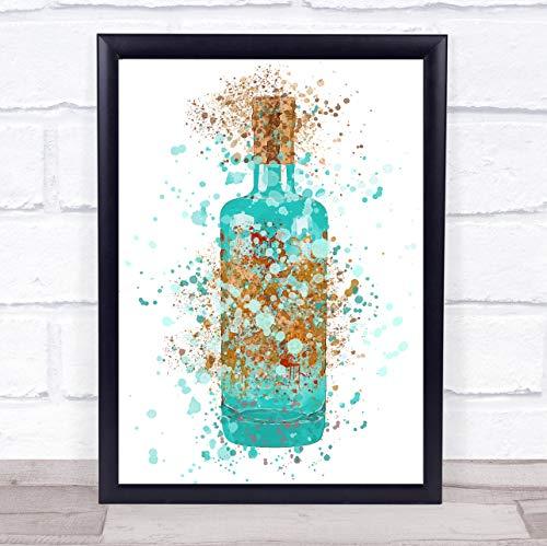 Aquarel Splatter blauw zwembad Gin fles muur kunst ingelijst Print Framed Black Medium