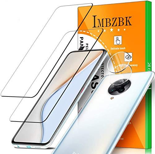 IMBZBK 【2 Pack】 Compatible con Protector Pantalla Xiaomi Poco F2 Pro, 2 Pack Protector de Lente de cámara Xiaomi Poco F2 Pro, [Sin Burbujas] [Claridad HD] Cristal Templado - Transparente