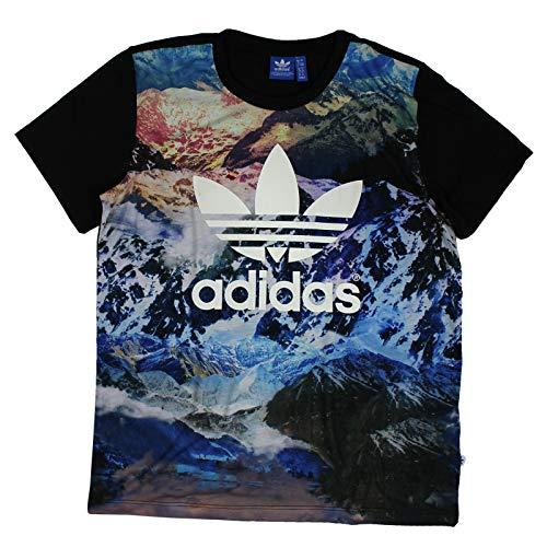 adidas Originals Mountain Trefoil Tee Boyfriend Oversize Shirt Berge Schwarz, Größe:38, Farbe:Mehrfarbig