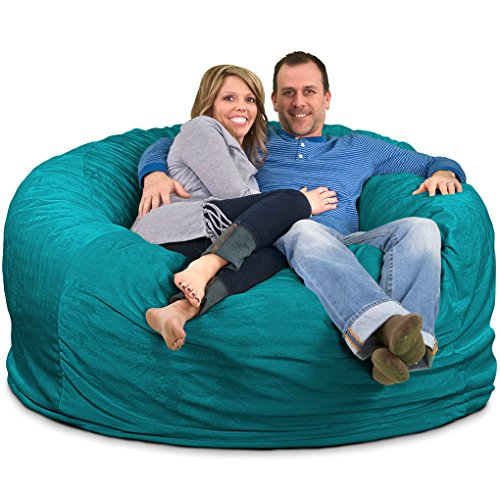 ULTIMATE SACK Bean Bag Chairs in Multiple Sizes and Colors: Giant Foam-Filled Furniture - Machine Washable Covers, Double Stitched Seams, Durable Inner Liner. (6000, Teal Suede)