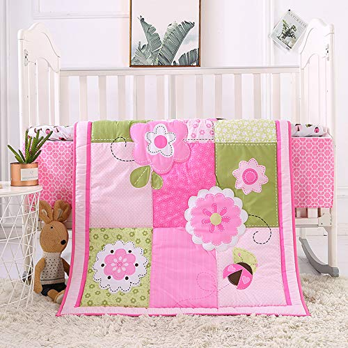 KINBEDY Pink Floral Ladybug Baby Crib Bedding Sets 3 Pieces Breathable Toddler Nursery Crib Sets for Baby Girls | Crib Quilt, Fitted Sheet, Bed Skirt (3 Piece, Pink Flowers)