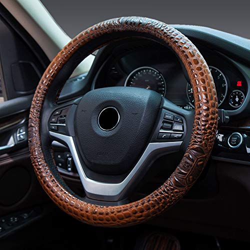 FLKAYJM Universal Fit Leather Car Steering Wheel Cover 37-39CM/15 Crocodile Texture Anti Slip Breathable Proof & Breathable Protector Car Accessory Year Round Use for Truck SUV - Brown